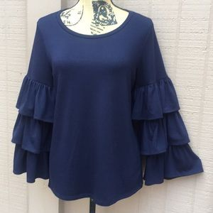 Sz M Banana Republic Blue Top W Bell Sleeves